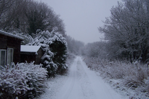 The Ringing Hut in the snow