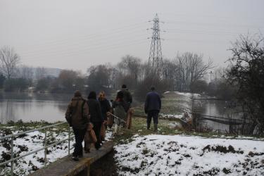 Duck trap checking, Feb 2012