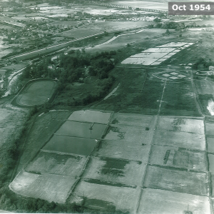 Aerial view, Oct 1954
